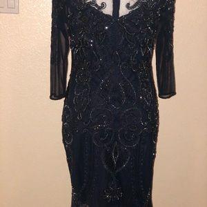 Dark Blue Sequined Cocktail Dress